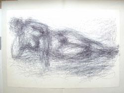 © haasner Gerson Fehrenbach (1932-2004), ohne Titel (Liegende), 1962, Kugelschreiber-Zeichnung, 45 x 66 cm auf Eurokunst