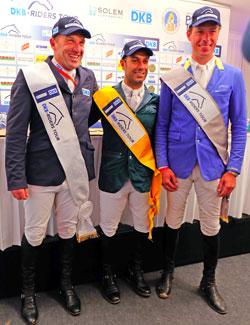 Die Gewinner des Preis der Landeshauptstadt Wiesbaden und der Qatar Equestrian Federation (QEF): vl.Holger Wulschner (Dritter), Kamal Bahamdan (Zweiter), . Christian Ahlmann. © massow-picture