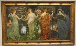 Walter Crane A Masque for the four seasons (1905 -09) auf Leinwand. Die vier weiblichen Figuren des berühmten Jugendstilgemäldes repräsentieren die vier Jahreszeiten.