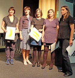 Stomps-Preis an vl.: Annette Köhn, (Kulturdezernentin Marianne Grosse Grußwortrednerin),  Bettina Haller, Birgit Reichert, Andrea Lange. © massow-picture