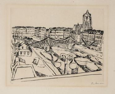 Stadtansicht mit Eisernem Steg, 1923 Radierung, 21,8 x 28,0 cm Sammlung Jürgen und Antje Conzelmann © VG Bild-Kunst, Bonn / Repro: Martin Joppen