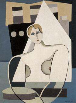 Marcelle Cahn, Frau und Segel, ca. 1926/27, Öl auf Leinwand 66 x 50 cm, Musée d'Art Moderne et Contemporain de Strasbourg (MAMCS), © Foto Musées de Strasbourg, A. Plisson