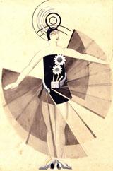 """Alexandra Exter Kostümentwurf für Marsbewohnerin in Aélita, 1924 Aquarell und Gouache auf Papier 53 x 36 cm Sammlung Nina und Nikita Lobanov-Rostovsky Spende des Gemeinnützigen Fonds """"Konstantinovsky"""", 2013 © St Petersburg State Museum of Theatre and Music"""