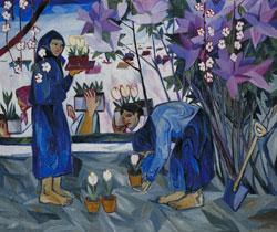 Natalja Sergejewna Gontscharowa, Gartenarbeit, 1908, Öl auf Leinwand, 102.9 x 123.2 cm, Foto © Tate, London 2015, VG Bild-Kunst, Bonn 2015