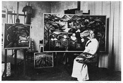 Jacoba van Heemskerck in ihrem Atelier in Den Haag, ca. 1915, Privatbesitz