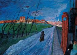 Marianne von Werefkin, Stadt in Litauen, 1913/14, Tempera auf Karton, 56,5 x 71,5 cm, Fondazione Marianne Werefkin, Museo Comunale d'Arte Moderna, Ascona