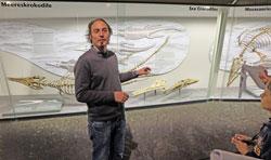 Philipe Havlik, Zentrale Museumsentwicklung, erläuterte die Exponate in den Vitrinen, hier erklärt er den Unterschied zwischen einem 220 Millionen Jahre altem Schein-Krokodil und  einem 165 Millionen Jahre altem Meereskrokodil, deren Kopf auf den ersten Blick einander sehr ähneln. © massow-picture