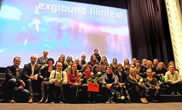 Filmschaffende, Preisträger, Organisatoren und Mitarbeiter des 28. exground-filmfestival 2015 in der Caligari Filmbühne. © massow-picture