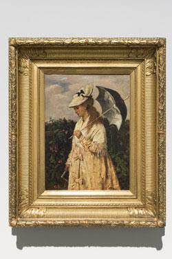 Otto Scholderer Bildnis einer jungen Dame mit Sonnenschirm / Luise Scholderer, 1870 Museum Wiesbaden,©  Hessisches Landesmuseum Wiesbaden