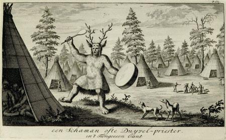 Tanzender Schamane der sibirischen Tungusen mit Geweihaufsatz und Trommel © Archäologisches Museum Frankfurt