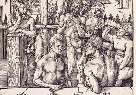 Albrecht Dürer Das Männerbad Um 1496/97 Holzschnitt ©Hessisches Landesmuseum Darmstadt, Foto: Wolfgang Fuhrmannek