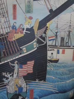 Utagawa Sadahide (1807-ca. 1878): Hafenszene in Yokohama (Ausschnitt) ukiyoe-Holzschnitt, 1861 (Privatsammlung), © Museum für Angewandte Kunst,