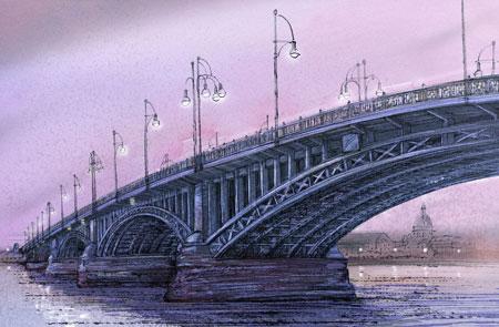 Theodor-Heuss-Brücke Zeichnung von-Katja-Rosenberg