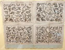 """Vierblätter aus """"Anweisung zur Zeichnung neuen Laubwerks"""" von Johann Baur, Augsburg 1681 - 1760. Foto © massow-picture"""