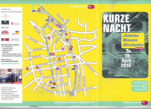 """Der Flyer """"Kurze Nacht der Galerien und Museen in Wiesbaden"""" liegt in allen Kultureinrichtungen und Galerien aus."""