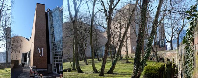im Vordergrund älteste Jüdische Begräbnisstätte der Stadt Frankfurt, im Hintergrund das Jüdische Museum, links der neue Eingangsbereich Battonnstrasse 47. Foto u. Montage: © massow-picture