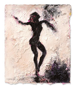 Karlheinz Oswald, Figur, 2015, Gouache auf Papier, 45 x 38 cm. © Rother Winter
