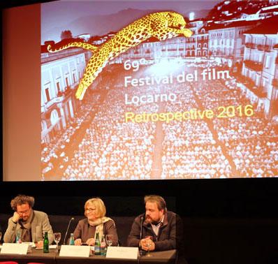 vl.Carlo Chatrian, Künstlerischer Leiter des Festivals, Claudia Dillmann, Direktorin des Deutschen Filminstituts, Olaf Möller, Kurator auf der Pressekonferenz. © massow-picture