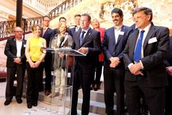 Oberbürgermeister Sven Gerich stellt jeden angereisten Vertreter der Partnerstädte namentlich und mit Funktion vor. © massow-picture