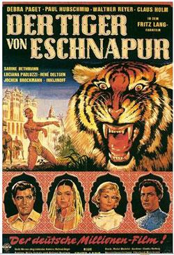Kinoplakat von DER TIGER VON ESCHNAPUR (BRD/IT/FR 1958/59, R: Fritz Lang) Quelle: Deutsches Filminstitut