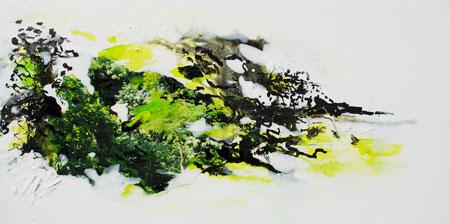Regenwald Miniatur 1, 2014, Mischtechnik auf Leinwand, 20 x 40 cm