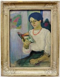 August Macke, Elisabeth mit buntem Buch, 1910 August-Macke-Haus Bonn, Dauerleihgabe aus Privatbesitz © massow-picture