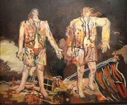 Georg Baselitz (*1938) Die großen Freunde, 1965 Öl auf Leinwand, 250 x 300 cm Museum Ludwig, Köln © Georg Baselitz 2016 Foto:  © massow-picture 2016