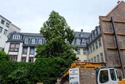 Aus den Ausstellungsräumen wird ein Blick auf die rückseitige Fassade und den Hof des Goethe-Hauses, auf den Goethe-Garten und den historischen Teil des Hochstiftsgebäudes fallen. © massow-picture