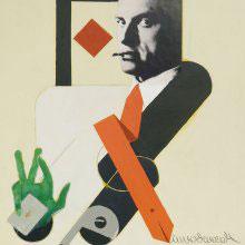 Wladimir Nemuchin, Bube Majakowski, 2010, Acryl, Collage, Leinwand, 71 x 53,5 cm, Privatsammlung Frankfurt, © Wladimir Nemuchin, Foto: privat (Ausschnitt)