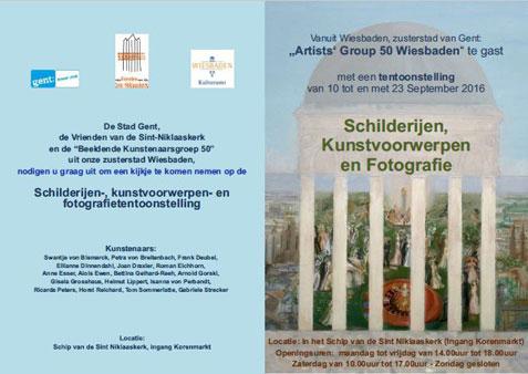 Einladungs-Karte mit Wiesbadener Ansicht von Roman Eichhorn aus der Künstlergruppe50