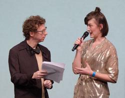 Erfolgsautor Arnon Grünberg und die flämische Dichterin Charlotte Van den Broeck. Foto: Diether v. Goddenthow © atelier-goddenthow