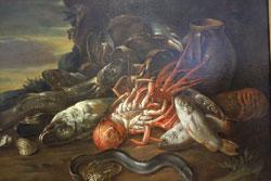 Guiseppe Recco (Werkstatt) Fischstilleben in weiter Landschaft. Öl auf Leinwand. Museum Wiesbaden. Foto: Diether v. Goddenthow