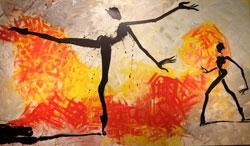 Helge Leiberg, Herzflamme. Acryl/Leinwand 140 x 240 cm. Die expressive Gestik der Körper strebt in ihren ausladenden Bewegungen meist in die Weite. Foto: Diether v. Goddenthow