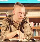 """Shortlist-Autor Philipp Winkler im Gespräch mit hr-2-Kulturredakteuer Alf Mentzer  über sein Buch """"Hool"""" (Rowohlt-Verlag9 Foto: Diether v. Goddenthow © atelier-goddenthow"""