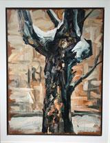 """Ralph Fleck, """"Baum"""", 1985, Öl auf Leinwand, 100 x 80 cm © Galerie Rother und Winter"""