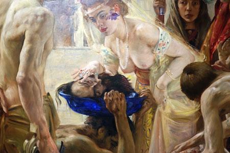 Ausschnitt aus: Lovis Corinth (1858–1925), Salome II, 1899/1900. Die biblische Gestalt Salome galt als Inkarnation weiblicher Grausamkeit und Sinnbild purer Erotik und inspirierte Literaten, Musiker und Künstler immer wieder zu neuen sinnlichen Darstellungen. Zu seinem Bild Salome II, welches die laszive Prinzessin Salome befriedigt auf das abgeschlagene Haupt des Heiligen Apostels Johannes schauen lässt, inspirierte Corinth das Finale von Oscar Wildes Schauspiel Salome (1893). Foto: Diether v. Goddenthow