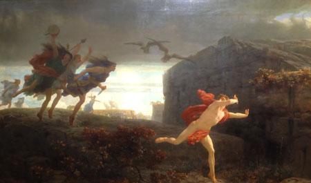 Charles Gleyre (1806 - 1874) Pentheus verfolgt von den Mänaden 1864.  König Pentheus aus Theben wird, nachdem er als Voyeur der Mänaden (weibliches Gefolge des Dionysos, Gott des Rausches) entdeckt wurde, von der erzürnten Weiblichkeit bis zu Tode gehetzt (die Geier in der oberen Bildmitte symbolisieren seinen Tod).Foto: Diether v. Goddenthow