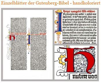 Reproduktionen einzelner Seiten der Gutenberg-Bibel werden von den Druckern des Gutenberg-Museums auf historischen Maschinen hergestellt - im traditionellen Buchdruckverfahren, in Originalgröße, auf Büttenpapier mit dem Wasserzeichen des Museums.