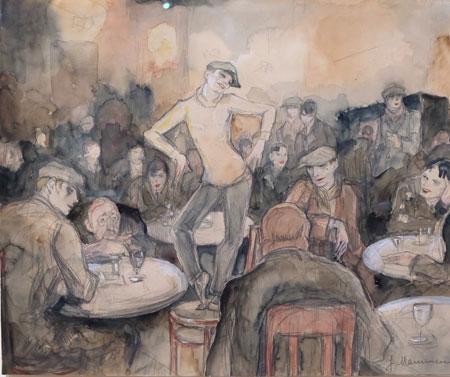 """Jeanne Mammen (Berlin 1890 - 1976). Ein Schwerpunkt ihrer Aquarelle aus der Zwischenkriegszeit liegt im nächtlichen Treiben Berlins mit Betonung weiblicher Selbstdarstellung, etwa hier die herausfordernd schauende Dame mit Zylinder und Herrenhaus in """"Sie repräsentiert"""". Foto: Diether v. Goddenthow"""