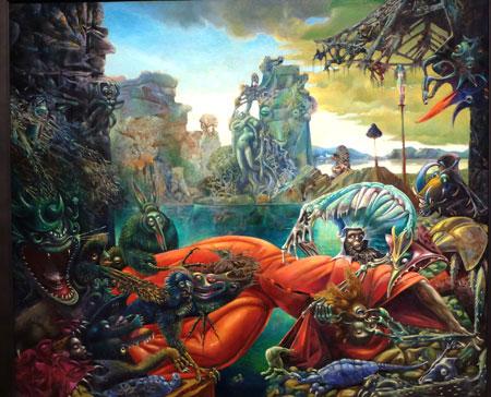 """Max Ernst (1891 - 1976). Die Versuchung des heiligen Antonius. Hier schlidert der Künster das albtraumartige Moment der Erzählung des von """"wilden Dämonen"""", der sexuellen Begierde, umringten Mönch, der gegen die Anziehungskraft des - hier schlangenartig dargestellten - Frauenkörpers ankämpft. Foto: Diether v. Goddenthow"""