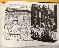 Blatt aus dem  pädagogischen Baulehrbuch von einst zum Neuaufbau von Mainz als Idealstadt der Zukunft. Links zu sehen in hell: die tolle Zukunft der neu erbauten Trabantenstadt. Rechts in dunkel: die rückschrittliche Enge der stinkenden, engen, Gründerzeitquartiere mit Pferdewagen usw.  Foto: Diether v. Goddenthow