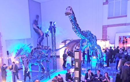 Lichthof 1: Feiern mit Diplodokucus, Iguanodon, T-rex und weitern Dinos in der Senckenberg-Night 2017 Foto: Diether v. Goddenthow  © atelier-goddenthow