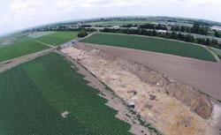 Luftbild der Grabungssituation Heßheim Foto: Landesmuseum Mainz