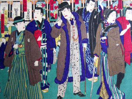 Farbholzschnitt 'Schauspieler vor Kabuki Theater', um 1860-70 © Museum Angewandte Kunst