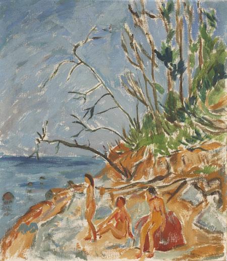Erich Heckel (1883–1970) Badende am Strand, 1913 Öl/Leinwand; 80 x 70 cm © Nachlaß Erich Heckel, Hemmenhofen Foto: Wolfgang Fuhrmannek, HLMD