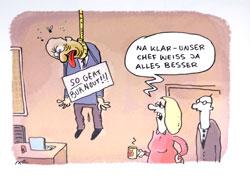 """So geht Burn-out"" - ""Klar - unser Chef weiss ja alles besser""  © Ari Plikat"