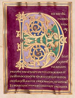 Zierseite mit den ligierten Initialen IN aus dem Festtagsevangelistar Stiftskirche St. Stephan Mainz, um 990. Handschrift und Deckfarben sowie Gold- und Silbertinte auf Pergament. Foto: Dom- u. Diözesanmuseum