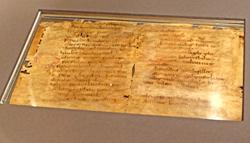 Lex Salica - ein Pergamentfragment aus Deutschlands ältester Rechtsschrift. Foto: Diether v. Goddenthow