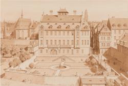 Karl Theodor Reiffenstein, Hasengasse: Haus und Garten des Herrn von Reineck, Aquarell von 1864 ® HMF Horst Ziegenfusz