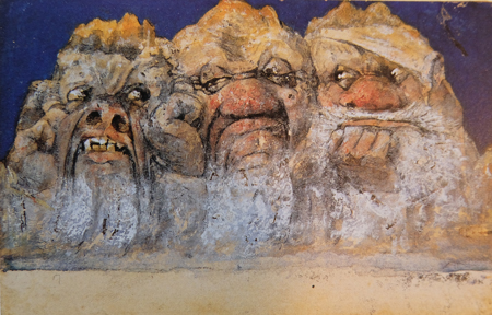 """Emil Nolde 1867 -  1956. Bergpostkarte: """"Die drei Mürtschen: Der Böse, der Faule und der Rauhe, 1985. Mischtechnik, Nolde Stiftung Seebüll. Foto: Diether v. Goddenthow"""